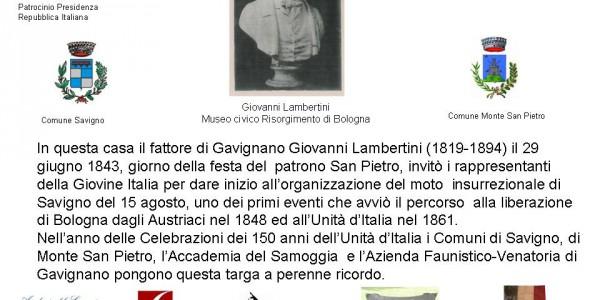 Targa a Gavignano del patriota Lambertini